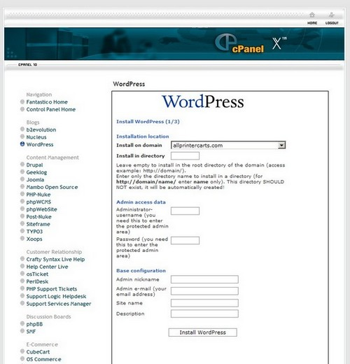 Install wordpress in CPanel