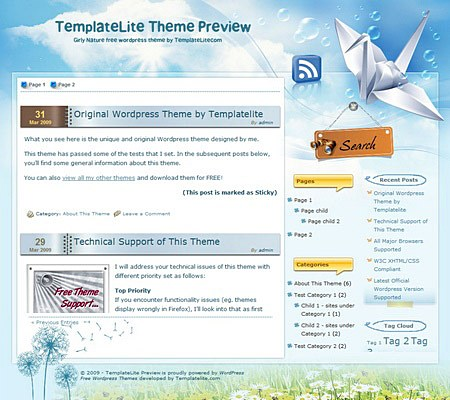 templatelite theme girly nature
