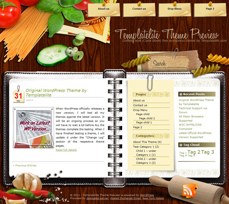Coffee Desk Cookbook WordPress Theme